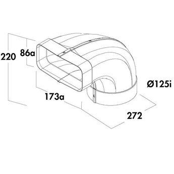 Compair Flow Omkeerstuk 90° voor Compair Flow Reductie F-Bion Ø125mm