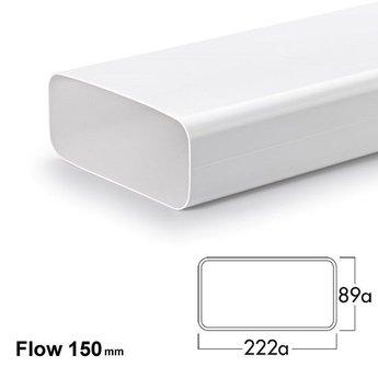 Compair Flow Afvoer afzuigkap - Hoog rendement luchtafvoer buis Ø 150mm -Vlakke buis 222x89