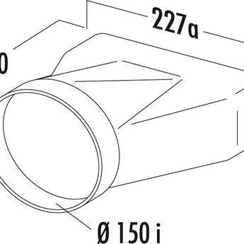 Compair Flow Eindstuk/Overgang Luchtafvoer Ø 150mm rond ►vlak, 222x89mm