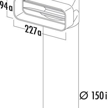 Omkeerstuk 90° Compair Flow Ø 150 mm met Ronde buis L 500 mm