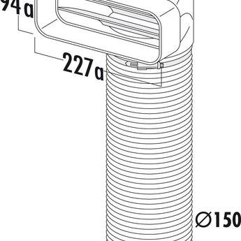 Omkeerstuk 90° Compair Flow Ø 150 mm met flexibele buis L 500 mm