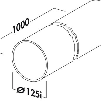 Ronde PVC Luchtafvoerbuis wit R-1000 Systeem Ø125 Lengte 100cm