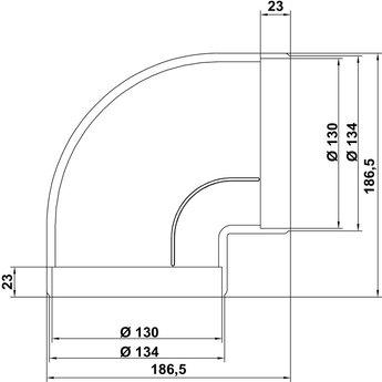 Luchtkanaal bocht 90°- voor Compair Flow Ø 125mm