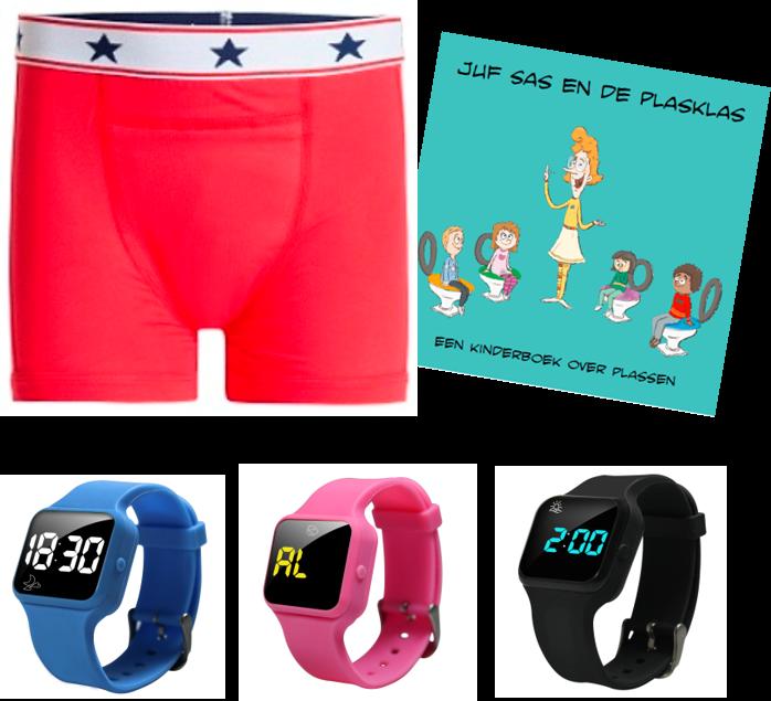 Voordeel zindelijkheidpakket jongens boxer rood, R16 horloge en Juf Sas