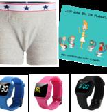 Voordeel zindelijkheidpakket jongens boxer grijs, R16 horloge en Juf Sas