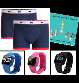 Pakket 2 blauwe boxers + plashorloge