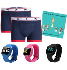 Pakket jongens boxers blauw + R16