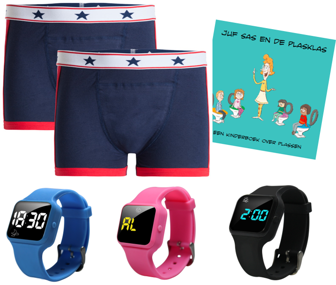 Voordeel zindelijkheidpakket jongens boxers blauw, R16 horloge en Juf Sas
