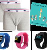 Voordeel zindelijkheidpakket jongens boxers grijs, R16 horloge en Juf Sas