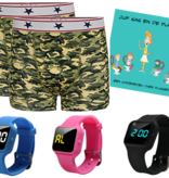 Voordeel zindelijkheidpakket jongens boxers camou, R16 horloge en Juf Sas