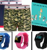 Voordeel zindelijkheidpakket jongens boxers camou en blauw, R16 horloge en Juf Sas