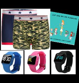 Pakket jongens boxers camou en blauw + R16