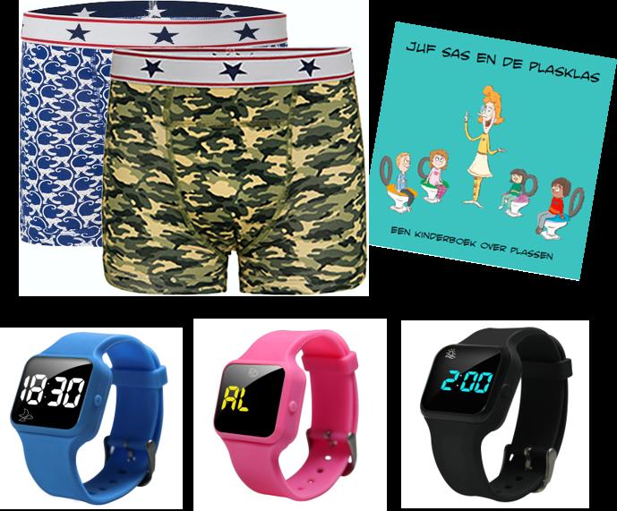 Voordeel zindelijkheidpakket jongens boxers camou en monkey, R16 horloge en Juf Sas