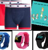 Voordeel zindelijkheidpakket jongens boxers blauw en rood, R16 horloge en Juf Sas