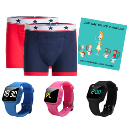 Pakket jongens boxers blauw/ rood + R16