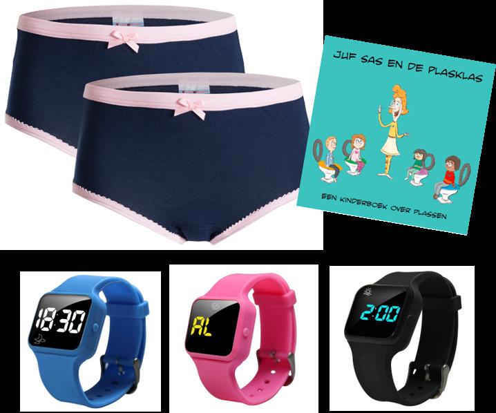 Voordeel zindelijkheidpakket meisjes slips blauw, R16 horloge en Juf Sas