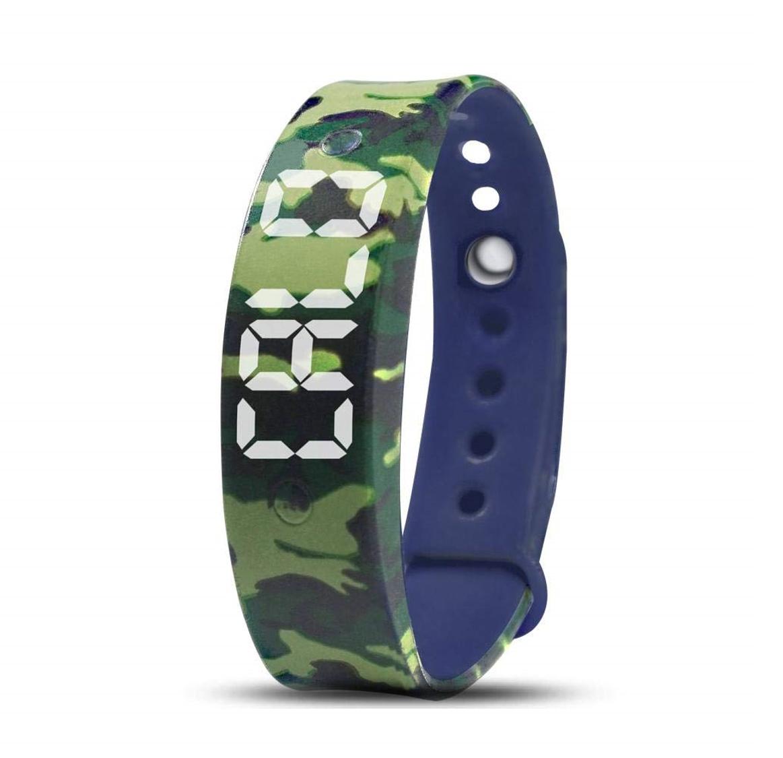 Plashorloge / Medicijnhorloge U15 blauw camouflage met 15 alarmmomenten