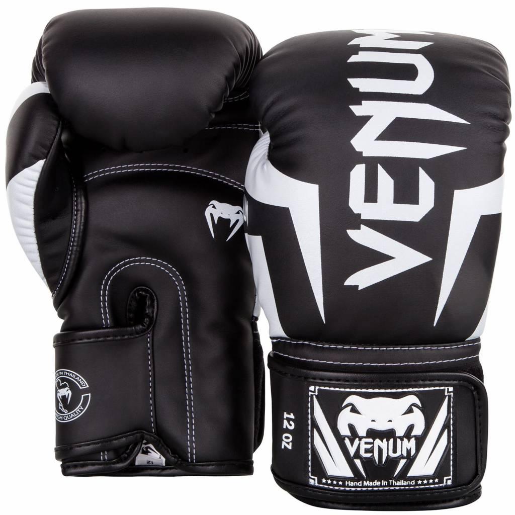 Venum elite boxing gloves black white kickboxing