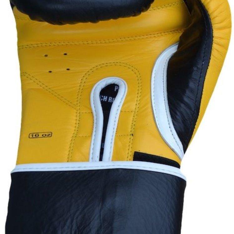 Punch Round ELITE PRO Boxing Gloves Black Yellow