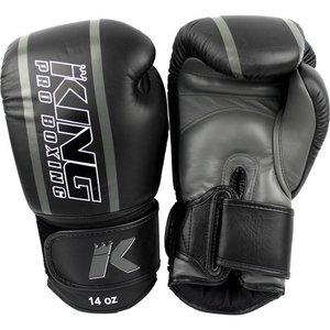 King Pro Boxing King Pro Boxing KPB Boxing Gloves Black Grey KPB/BG Elite 1 Leather