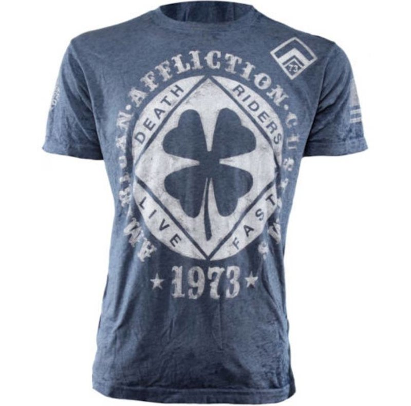 Affliction Clothing Affliction Lucky Shot Ronde Hals T Shirt Blauw