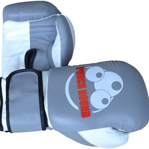 Punch Round™  Punch Round ™ Strike Boxing Gloves Leather Gray White