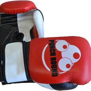 Punch Round™  Punch Round ™ Strike Boxing Gloves Leather Red White