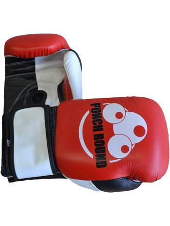 PunchR™  Punch Round ™ Strike Boxing Gloves Leather Red White