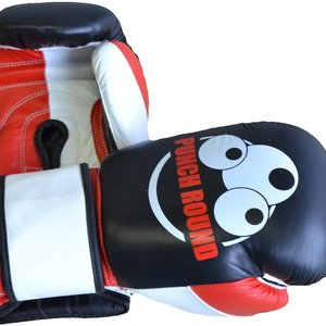 Punch Round™  Punch Round Strike Boxing Gloves Leather Black Red White