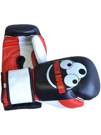 PunchR™  Punch Round Strike Boxing Gloves Leather Black Red White