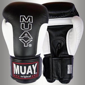 MUAY® MUAY® Premium Leder Bokshandschoenen Zwart Wit