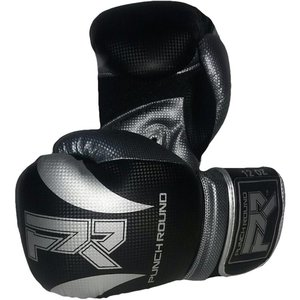 Punch Round™  Punch Round SLAM Boxing Gloves Dull Carbon Black Silver
