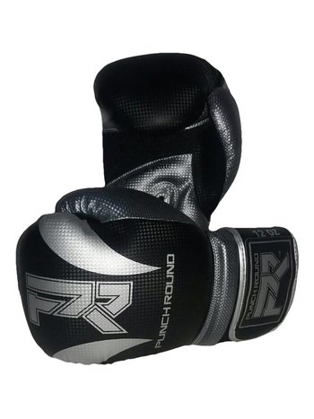 PunchR™  Punch RoundSLAMBoxing Gloves Dull Carbon Black Silver