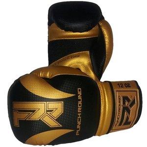 """Punch Round™  Punch Round """"SLAM"""" Boxhandschuhe Matt Carbon Schwarz Gold"""