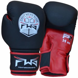 Fightwear Shop FWS Boxing Gloves Dull MF Artificial Leather Black Red