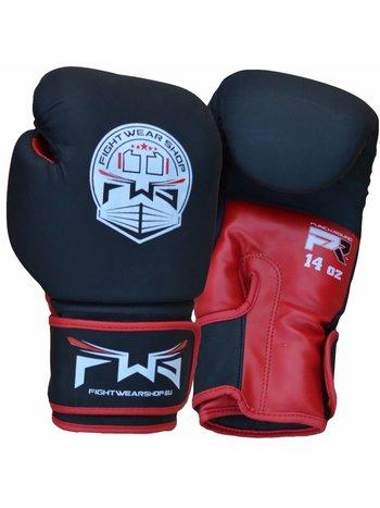 Fightwear Shop FWS Bokshandschoenen Matt MF Leder Zwart Rood