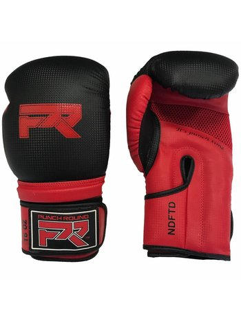"""PunchR™  Punch Round Bokshandschoenen """"LOGO"""" Mat Carbon Zwart Rood"""