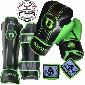 Booster Booster Fight Gear Pro Range Kickboks Set BGL 1 V6 Black Green