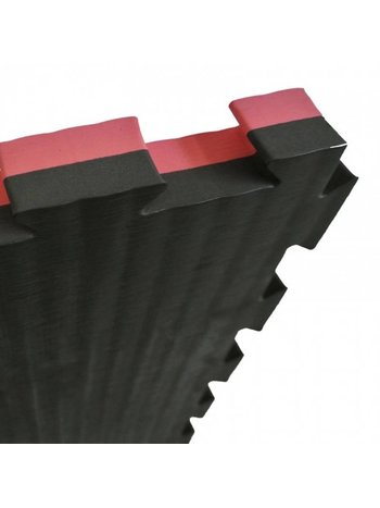 Sportief Puzzelmat 100 x 100 cm 4 cm Zwart Rood