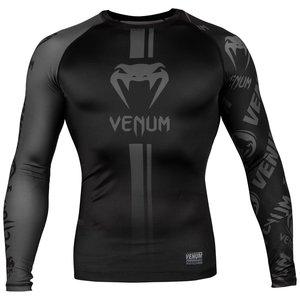 Venum Venum FightwearLogos Rash Guard L/S Black on Black