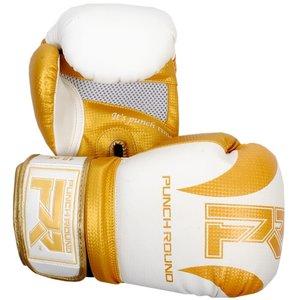 "Punch Round™  Punch Round ""SLAM"" Boxhandschuhe Matt Carbon Weiss Gold"