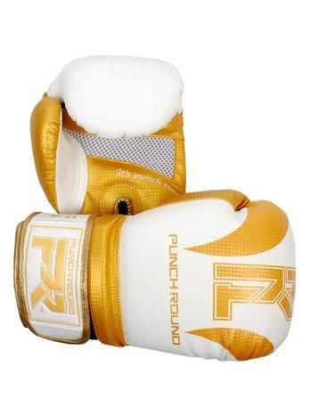 PunchR™  Punch Round (Kick)Bokshandschoenen SLAM Mat Carbon Wit Goud