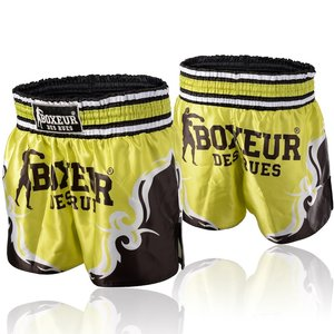 Boxeur des Rues Boxeur Muay ThaiKickboxing Shorts Tribal Symbols YellowBlack