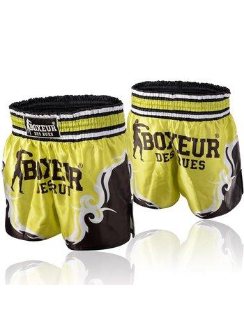 Boxeur des Rues Boxeur Kickboks Broekje Muay Thai Short Tribal Symbols Geel