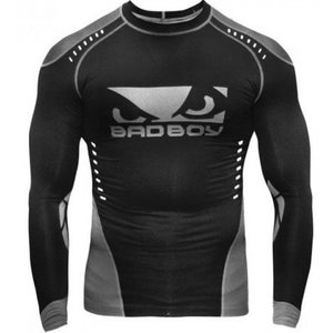 Bad Boy Bad Boy Sphere Compression Top Rash Guard L/S Black Grey