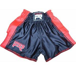 Punch Round™  Muay Thai Shorts Matte Carbon Schwarz Rot Punch Round Fightwear