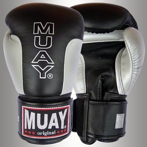 MUAY® MUAY Premium Leather Boxing Gloves Black Silver