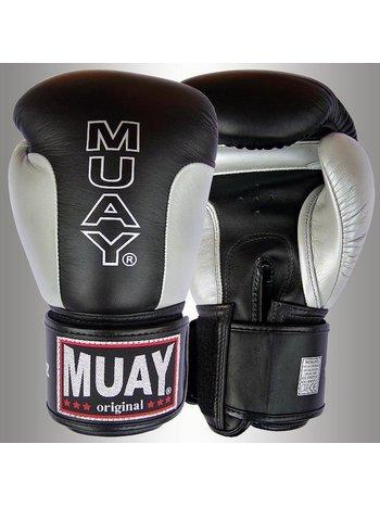 MUAY® MUAY® Premium Leder Bokshandschoenen Zwart Zilver
