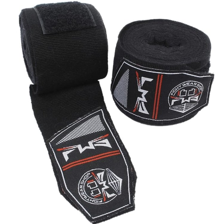 Fightwear Shop FWS Boxing Hand Wraps Perfect Stretch 260 cm Black