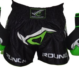 Punch Round™  Punch Round NoFear Kickboxing Shorts Black Neo Green